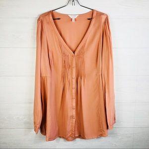 LC Maternity L Peach Button down Shirt long sleeve